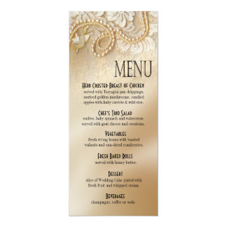 Pearls and Lace Dinner Menu | eggshell Card