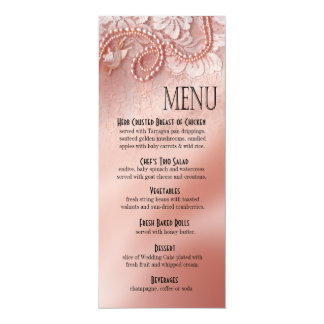 Pearls and Lace Dinner Menu | peony pink Card