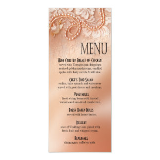 Pearls and Lace Dinner Menu | perfect peach Card