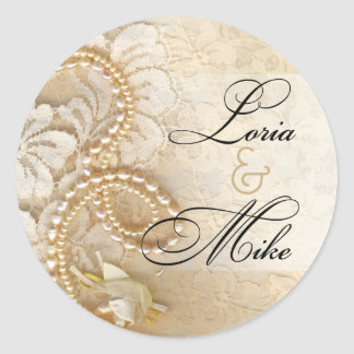 Pearls and Lace Favor   eggshell Classic Round Sticker