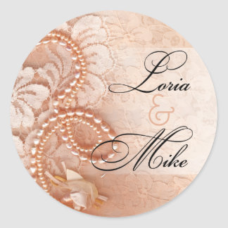 Pearls and Lace Favor | perfect peach Round Stickers