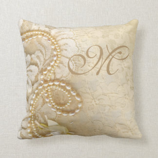 Pearls and Lace Monogram | eggshell Throw Pillow