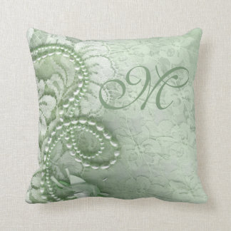 Pearls and Lace Monogram | mint green Throw Pillow