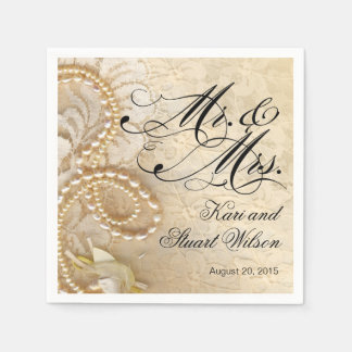 Pearls and Lace Mr. & Mrs. | ivory Paper Napkin