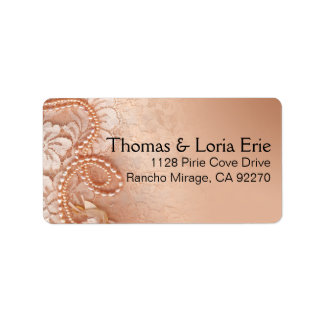 Pearls and Lace   perfect peach Address Label