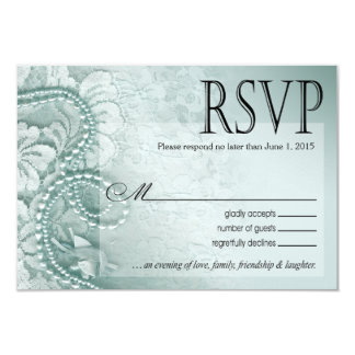 Pearls and Lace RSVP Response Card | caspian blue
