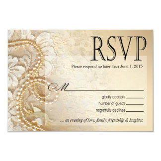 Pearls and Lace RSVP Response Card | eggshell