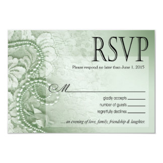 Pearls and Lace RSVP Response Card | mint green