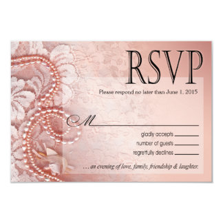 Pearls and Lace RSVP Response Card | peony pink