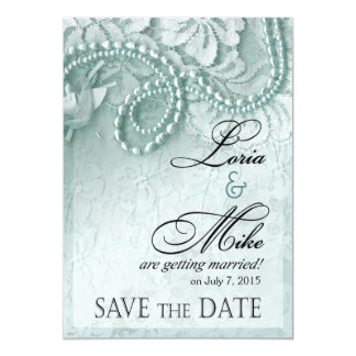 Pearls and Lace Save the Date | caspian blue Card