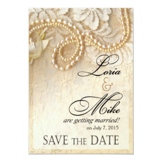Pearls and Lace Save the Date | eggshell Card
