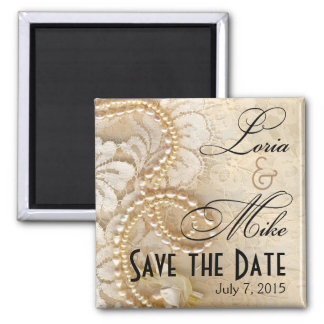 Pearls and Lace Save the Date | eggshell 2 Inch Square Magnet