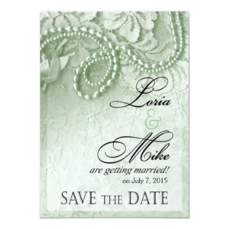 Pearls and Lace Save the Date | mint green Card