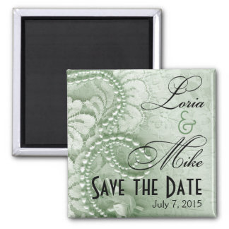 Pearls and Lace Save the Date | mint green 2 Inch Square Magnet