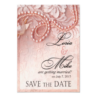 Pearls and Lace Save the Date | peony pink Card