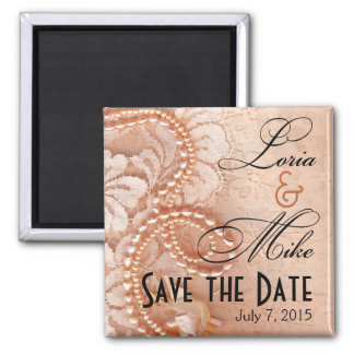 Pearls and Lace Save the Date | perfect peach 2 Inch Square Magnet