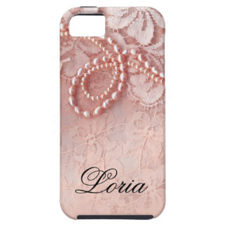 Pearls and Lace Signature | peony pink iPhone SE/5/5s Case