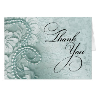 Pearls and Lace Thank You   caspian blue Card