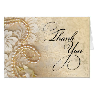 Pearls and Lace Thank You   eggshell Card