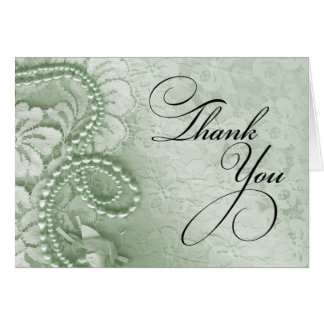Pearls and Lace Thank You   mint green Card