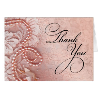Pearls and Lace Thank You   peony pink Card