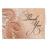Pearls and Lace Thank You | perfect peach Greeting Cards