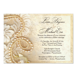 Pearls and Lace Wedding | eggshell Card