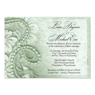 Pearls and Lace Wedding | mint green Card