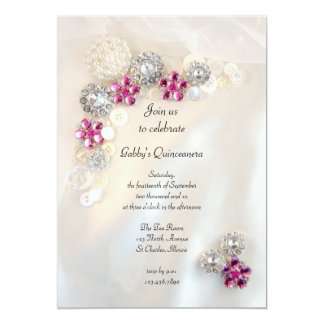 "Pearls and Pink Diamond Buttons Quinceañera Party 5"" X 7"" Invitation Card"