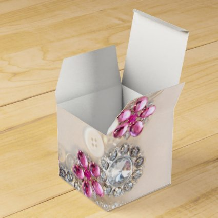 Pearls and Pink Diamond Buttons Wedding Favor Box