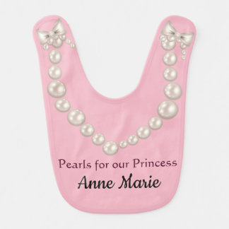 Pearls And Pink For Our Princess Baby Bib