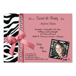 Pearls and Pink With Zebra Stripes Party Invite