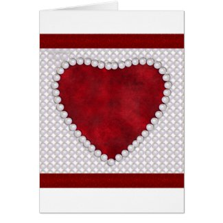 Pearls and Red Velvet Heart Valentine