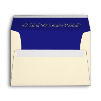 Pearls and Sapphire Blue Invitation Envelope