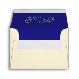 Pearls and Sapphire Blue RSVP Return Envelope