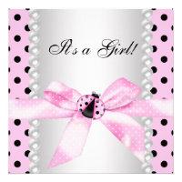 Pearls Black Pink Ladybug Baby Girl Shower Custom Announcements