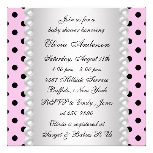 Pearls Black Pink Ladybug Baby Girl Shower Custom Announcements (back side)