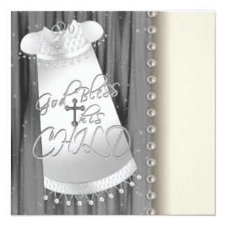 Pearls Black White Baby Christening Invitations