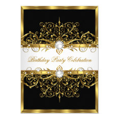 Pearls Black White Gold Elegant Birthday Party Card at Zazzle