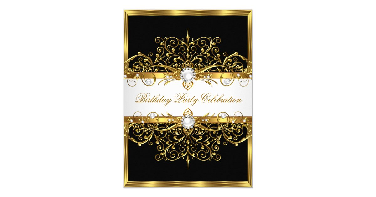 Pearls Black White Gold Elegant Birthday Party Card Zazzle