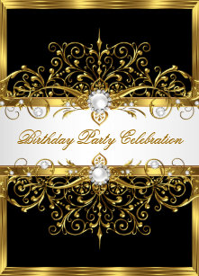 black gold party invitations zazzle