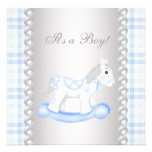 Pearls Blue Gingham Rocking Horse Baby Boy Shower Custom Invitation