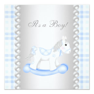 Pearls Blue Gingham Rocking Horse Baby Boy Shower Invitation