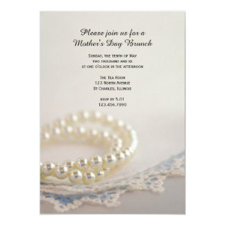 Pearls Blue Lace Mother's Day Brunch Invitation