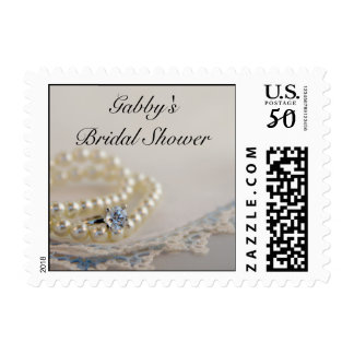 Pearls, Diamond Ring and Blue Lace Bridal Shower Postage