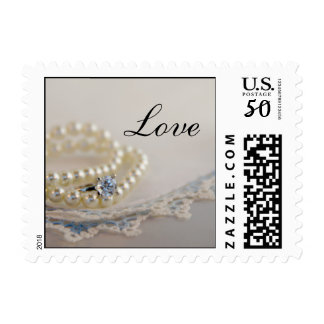 Pearls, Diamond Ring and Blue Lace Wedding Love Postage
