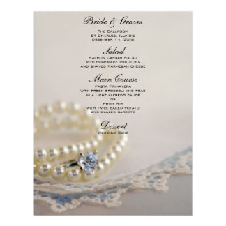 Pearls, Diamond Ring and Blue Lace Wedding Menu