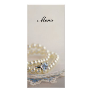 Pearls, Diamond Ring and Blue Lace Wedding Menu