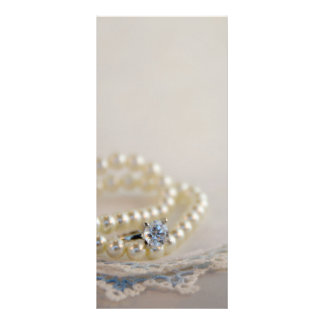 Pearls, Diamond Ring and Blue Lace Wedding Program