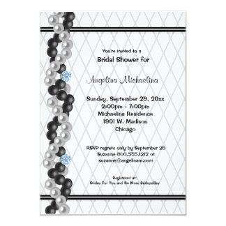 "Pearls, Diamonds And Fishnet Print 5"" X 7"" Invitation Card"